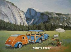 Vintage Travel Trailer, Half Dome Yosemite National Park
