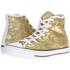 Converse Chuck Taylor All Star Holiday Party Hi (Gold/White/Black)... ($80) ❤ liked on Polyvore featuring shoes, sneakers, sequin high top sneakers, gold sparkle sneakers, converse shoes, gold sparkly shoes and high top shoes