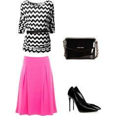 pink and black, created by modestfashions99 on Polyvore