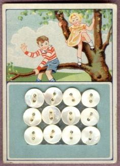 Vintage MOP buttons on original card - brother and sister climbing tree. Vintage Labels, Vintage Buttons, Vintage Cards, Sewing Box, Love Sewing, Sewing Tools, Button Cards, Button Button, Buttons For Sale