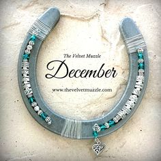 Personalized Birthstone Horseshoe | December | Blue Zircon | Silver | Pewter | Available with one name or two! www.thevelvetmuzzle.com