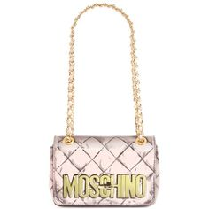 Moschino 'Small Trompe l'Oeil' Convertible Shoulder Bag ($795) ❤ liked on Polyvore featuring bags, handbags, shoulder bags, pink, white handbags, moschino handbag, white shoulder bag, pink purse and studded shoulder bag