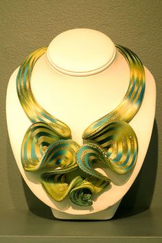 Elise Winters Citron Ruffled Neckpiece in polymer at Fuller Craft Museum Polymer Exhibit