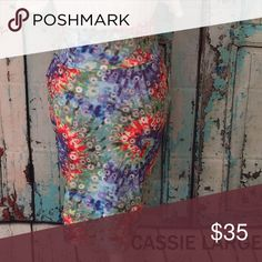 Cassie skirt large Tie dye multi color LuLaRoe Skirts Midi
