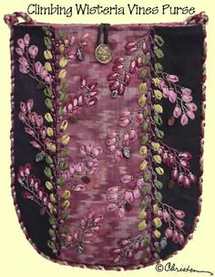 I ❤ ribbon embroidery . . . The fabric is pieced first, in a simple striped fashion of silk, moire, or tapestry. The front and back pieced sections are then embroidered with feather stitch vines and silk ribbon-embroidered lazy daisy leaves. Beads and buttons provide flash and style, probably just like that favorite aunt would have done.