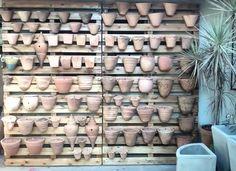 Cantinho novo finalizado  Usamos paletes como painel para expor os vasos de cerâmica. Uma ideia simples e barata pra você fazer na sua casa.  #photo #painel #pallet #jardimvertical #decor #cool #top #decoração #ceramica #reaproveitamento #sustentabilidade #wood #madeira #home #decorecomvasos #homedecor #vertical #mudanças #tapanovisu #gardens #jardins #paisagismo #verde #green #landscapedesign #work #azaleiajardins #divinopolis #minas #brazil by azaleiajardins http://ift.tt/1TojwTx