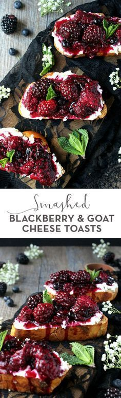 Ideal as a snack, meal, or even an appetizer, these Smashed Blackberry & Goat Cheese Toasts are like a cozy taste of spring! Flavorful and delicious. (recipes with fruit snacks cream cheeses) Think Food, Love Food, Tapas, Comidas Light, Le Diner, Appetizer Recipes, Tailgate Appetizers, Delicious Appetizers, Dessert Recipes