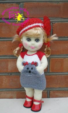 This Pin was discovered by Uzr Crochet Dolls Free Patterns, Crochet Doll Pattern, Doll Patterns, Cute Crochet, Crochet Toys, Crochet Baby, Knitted Teddy Bear, Knitted Animals, Types Of Craft