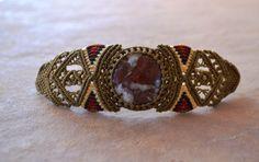 Dark Red Jasper Macrame Bracelet/ Southwestern by SpiritYSol, $34.00