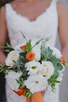 orange and white boquet