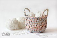 Зефирный ушат (плетение из бумажной лозы, газет, бумажных трубочек, basket weaving, paper, wicker box, zephyr basket, handmade)
