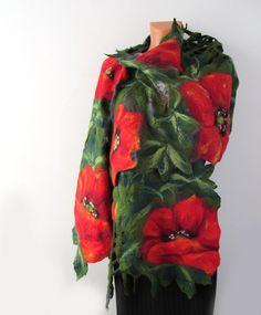 Nuno Felted scarf Poppy red green flower. via Etsy.