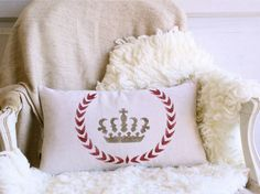 stenciled crown pillow down filled 10 x 18 by bohemiennes on Etsy, $56.00