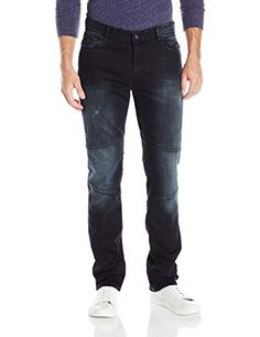 Mens White Torn Skinny Jeans Distressed Ripped Tapered Leg Fashion Denim Pants ** Find out more about the great product at the image link.
