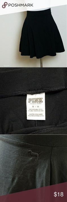 Victoria's Secret PINK Black Skater Skirt Solid black Victoria's Secret PINK Skater skirt  Waist: 14 inches  Length: 17 inches PINK Victoria's Secret Skirts Circle & Skater