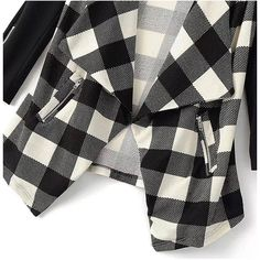 Yoins Waterfall Checked Cardigan ($29) ❤ liked on Polyvore featuring tops, cardigans, cardigan top, checkered top, waterfall top, waterfall cardigan and over sized cardigan