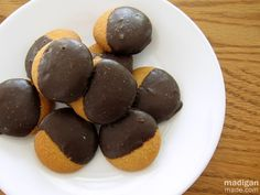 Chocolate dipped vanilla wafers. You can make them look like cresent moons when you dip them. So cute!