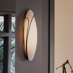 Hubbardton Forge Wall Sconce Finish: Natural lron, Shade Color: Stone, Position: Left