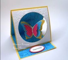 Free Video Tutorials - Sharon's Scrappy Space Easel card with center cut out. Card Making Templates, Card Making Tutorials, Card Making Techniques, Video Tutorials, Making Cards, Easel Cards, 3d Cards, Pop Up Cards, Flip Cards