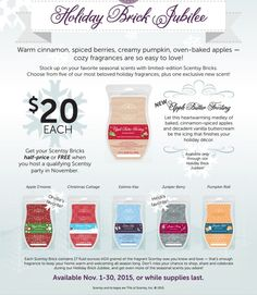 Bricks are BACK!!! November ONLY! Get yours while they last!!! Apple Butter Frosting is a BRAND NEW SCENT! Only available in Brick and this month!  https://amymann.scentsy.us/