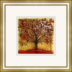 'Autumn' by Edel Taggart. This piece has been hand crafted, fused & framed by Spires Art in Omagh. This piece is available in a variety of sizes.