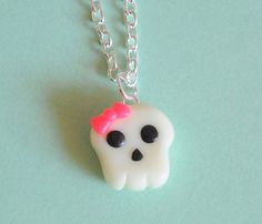 Kawaii Skull Charm with Pink Bow Necklace by PumpkinPyeBoutique, $15.00