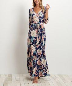 Look at this #zulilyfind! Navy Blue Floral Tie-Front Wrap Maxi Dress #zulilyfinds