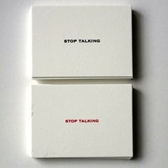 stop talking cards.  double thick card stock.  available in red or black.  www.themonogramshops.com