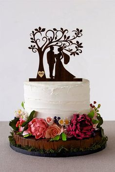 Tree Wedding Cake Topper Personalized Monogram Cake Topper Dog Cake Topper, Monogram Cake Toppers, Wooden Cake Toppers, Personalized Wedding Cake Toppers, Wedding Cake Fresh Flowers, Cool Wedding Cakes, Wedding Cake Designs, Silhouette Cake, Dog Cakes