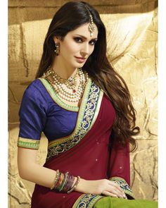Buy Maroon Sarika Plain Pallu with embroidered border at happydeal18.com, India's biggest shopping store
