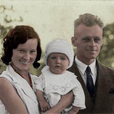 Witold Pilecki z żoną Marią i synkiem Andrzejem. Zdjęcie z 1933 roku (źródło: archiwum prywatne Andrzeja Pileckiego; koloryzacja: RK).