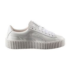 Puma PUMA BY RIHANNA MEN'S BASKET CREEPER GLO ($140) ❤ liked on Polyvore featuring shoes, punk platform shoes, laced shoes, suede platform shoes, long shoes and suede leather shoes