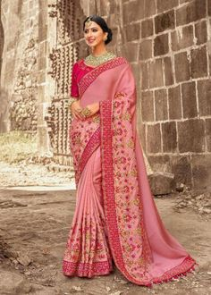 Chiffon Pink Half And Half Saree.Add grace and charm towards the appearance in this attractive Salmon & Off White Chiffon Saree. The ethnic Lace & Resham work at the clothing adds a sign of attractiveness statement with your look. Chiffon Saree, Georgette Sarees, Chiffon Fabric, Net Saree, Crepe Saree, Handloom Saree, Indian Designer Sarees, Indian Sarees Online, Designer Sarees Online