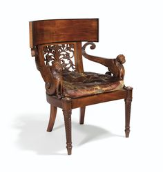 A LARGE MAHOGANY ARMCHAIR, FRENCH, CONSULAT, CIRCA 1800-1805