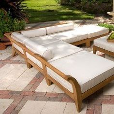 """Aman Dais 6pc Teak Sectional Daybed by Westminster Teak. $8995.00. Cushions manufactured with premium Sunbrella fabric. 105.5"""" Long x 105.5"""" Wide   10.5"""" Teak seat to ground. Teak Furniture with Quality rated """"Best Overall"""" by the Wall Street Journal. Lifetime Warranty against Manufacture Defects. Comes with 6 Sectional pieces. The Aman Dais Teak Daybed  Collection is the excellence of casual luxury with the comfort of home."""
