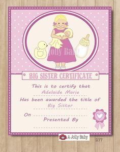 Personalized Big Sister Certificate, Digital Printable, Big Sister Gifts, Poster, Wall Art, Pink Decoration, 8x10 Print.