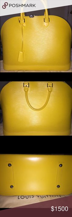 """Louis Vuitton Alma GM CITRON couple years old. In EXCELLENT exterior condition, someone dropped a cigarette inside of the bag and those are the marks you see (does not smell like cigarettes AT ALL I am not a smoker) I have the original receipt dust bag and will only ship w/ box if this item is purchased will not come with trade unless other trader pays for shipping. """"Out With The Old In With The New"""" Louis Vuitton Bags Shoulder Bags"""