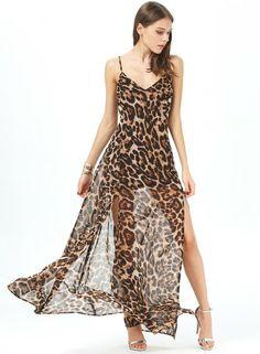 Leopard Print Spaghetti Strap Chiffon Maxi Dress