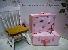 Miniature 1:12 scale decorative shabby chic suitcase (non-opening) in Rachel Ashwell fabric. via Etsy.