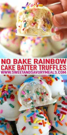 No Bake Cake Batter Truffles are very easy to make using funfetti cake mix. Loaded with lots of sprinkles and dipped in white chocolate, these are fun and delicious. # no bake Desserts No Bake Cake Batter Truffles [Video] - Sweet and Savory Meals Fun Baking Recipes, Sweet Recipes, Cookie Recipes, Easter Recipes, Baking Ideas, Valentines Recipes, No Bake Kids Recipes, Cake Ball Recipes, Baking Recipes For Kids