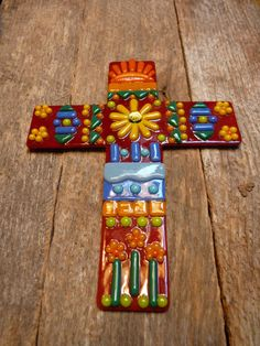 Mosaic Style Fussed Glass Cross by PureLightStudio on Etsy, $55.00