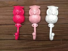 Baby Nursery Owl Wall Hooks Little Girls Room Decor Pink and White 3 Metal Shabby Chic Owl Wall Hooks on Etsy, $29.95