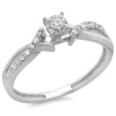 0.15 Carat (ctw) 18k White Gold Round Diamond Crossover Split Shank Ladies Bridal Promise Ring 1/6 CT * For more information, visit now : Promise Rings