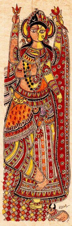 Madhubani or Mithila Paintings shivparvati Indian Artwork, Indian Folk Art, Indian Paintings, Madhubani Art, Madhubani Painting, Amazing Artwork, Cool Artwork, Indian Arts And Crafts, Hindu Deities