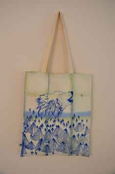 Screen printed Wolf tote, long handled tote bag, by Miejse Chafer on Folksy, £20.00