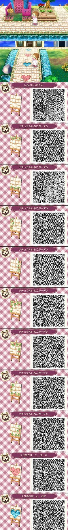 ACNL QR Code: Sand-colored Brick with Flowers