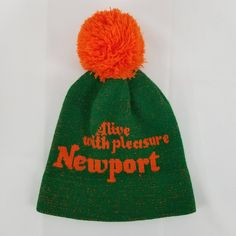Vintage Newport Cigarettes Pom Pom Ski Hat Beanie Winter Green Orange Alive  with Pleasure Toque by 4445781e52e4