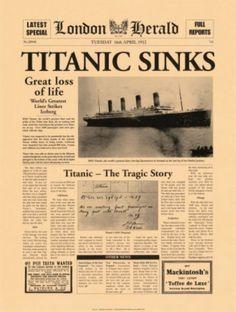 Titanic Sinks Poster von The Vintage Collection bei AllPosters.de Titanic Sinks Poster von The Vintage Collection bei AllPosters. Titanic Poster, Titanic Movie, Rms Titanic, Titanic Sinking, Titanic Wreck, Titanic Museum, Titanic Photos, Vintage Newspaper, Moon Art