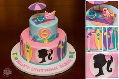Barbie beach cake with classic Barbie silhouette. Barbie Party Decorations, Barbie Theme Party, 18th Birthday Party Themes, Barbie Birthday Cake, Birthday Ideas, 5th Birthday, Bolo Barbie, Barbie Cake, Barbie Piscina