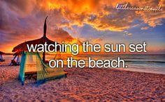 whatmakesyousmile... watching the sun set on the beach.